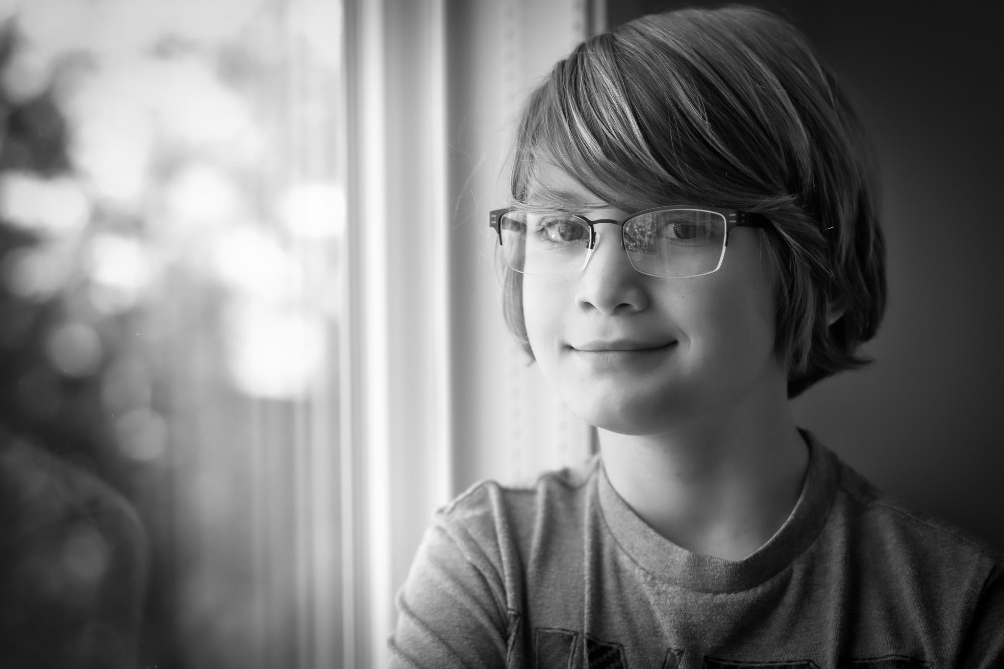 Daniel has glasses